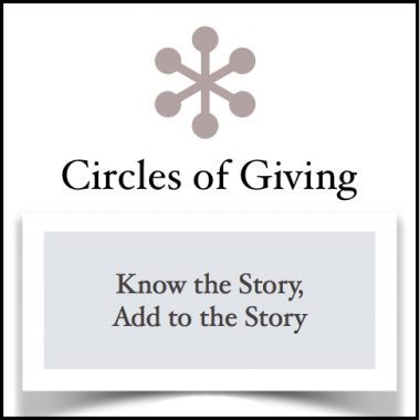 knowing the story, adding to the story, more about a circle of giving